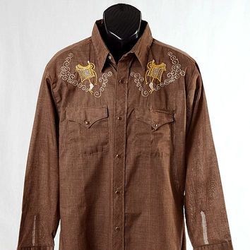 Vintage Cowboy Joe Metallic Embroidered Saddle Western Shirt 70s 1970s Atlantic Westerner Rodeo Snap Shirt Rockabilly Mad Men men's size L