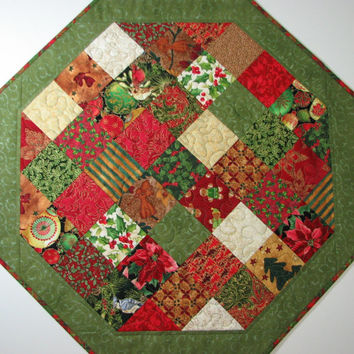 Quilted Table Topper , Christmas Patchwork Table Topper , Octagon Table Topper