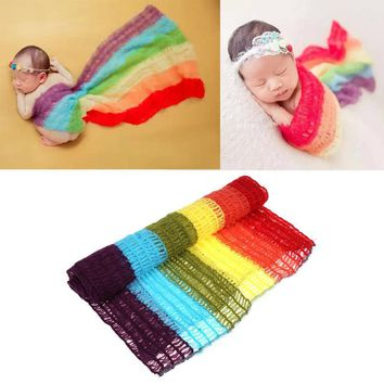Winter Rainbow Baby Blankets Stretchable Mohair Knitted Wraps Newborn Photography Props Unisex Infant Swaddle Soft Photo Wrap