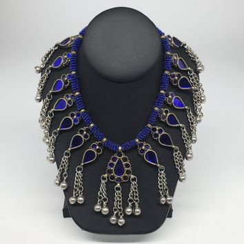 Big Kuchi Tribal Necklace Afghan Ethnic Blue Color Glass Jingle bell Necklace NK28