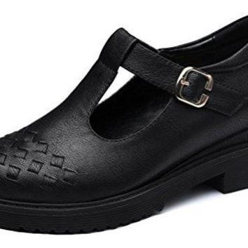 Guciheaven Women's Mary Janes T-Strap Shoes Leather Retro Flats Work Shoes