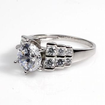 1.6CT Round Cut Solitaire Russian Lab Diamond Engagement Ring