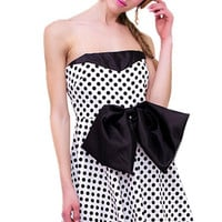 Polka Doted Strapless Dress with Bow
