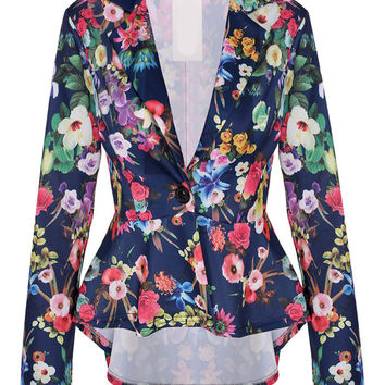 Blue Floral Long Sleeve Blazer