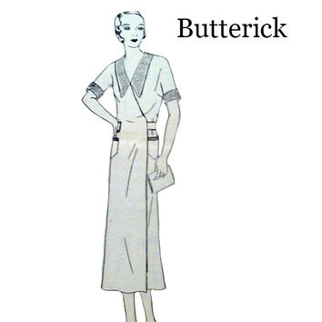 30s Womens Wrap Apron Dress Pattern Vintage Butterick 3917 Frock Back Button Belt Collar Option Sewing Patterns Kimono Sleeves Bust Size 36
