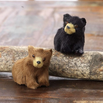 Christmas Cabin Brown and Black Bear Holiday Ornaments 2-in  - Set of 2