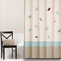 Home Classics Patchwork Song Fabric Shower Curtain (White)