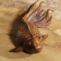 Hand Carved Goldfish made from Suar Wood | Wooden Fish Statue | Unique Indian Wood Sculpture