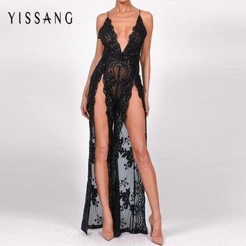 Yissang Sexy Summer Jumpsuit Backless Deep V Neck Solid Sexy Party Full-Length Jumpsuit Fashion Sequin Women Rompers Playsuits