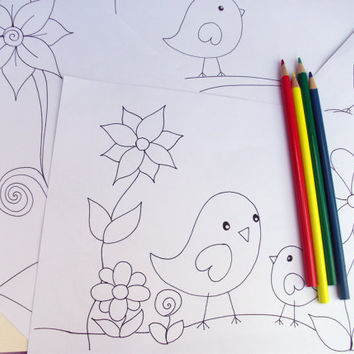 Printable Coloring Pages Set of 4 Cute Birds by JoArtyJo on Etsy