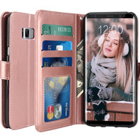 Galaxy S8 Plus Case Luxury PU Leather Wallet Flip Protective Case