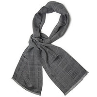 Men's Grey Black Broken Stripe Wool Silk Mix Scarf