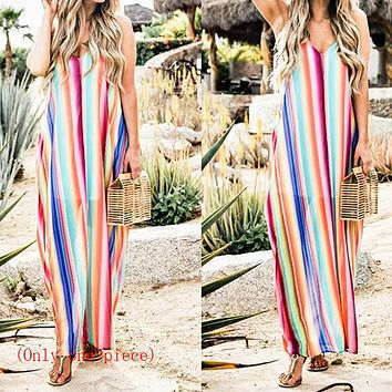Hot-selling ready-to-wear dresses, women's clothes, color Chiffon sexy strap beach skirts (Only one piece)