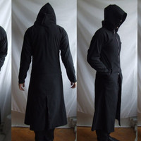 Reaper TrenchCoat Larger Sizes( long robe with large hood custom made related to gothic industrial post apocalyptic )
