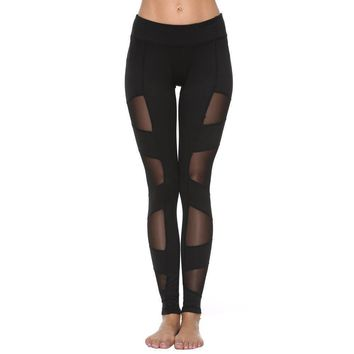 Sexy Black Mesh High Waist Workout Fashion Leggings