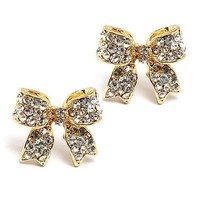 Fashion Crystal Pave Bow Ribbon Stud Earrings Gold CL