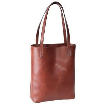 GiGi New York Carry All Tote Brown Vachetta Leather