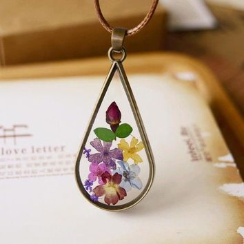 Handmade Natural Dried Flowers Long Necklaces & Pendants