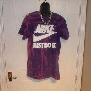 unisex customised blue nike acid wash tie dye t shirt sz med