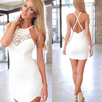 Lace Embroidered White Halter Dress