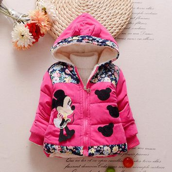 Free Shipping Warm Winter Coat For Girls Hot Children Cartoon Hooded Coats High Quality Clothes Jackets For Girls Kids Costume