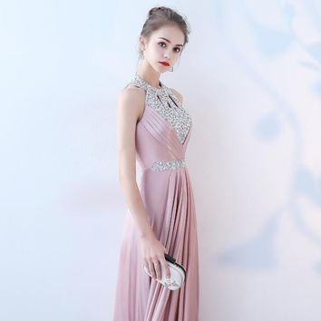 Backless Halter Collar Bling Elegant Zipper Party Formal Dress Floor Length Evening Dresses