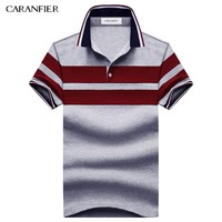 CARANFIER 2017 NEW Summer men Striped Polo Shirts 95% cotton Stripe Brand Clothing Man's Wear Short Sleeve Slim Clothes