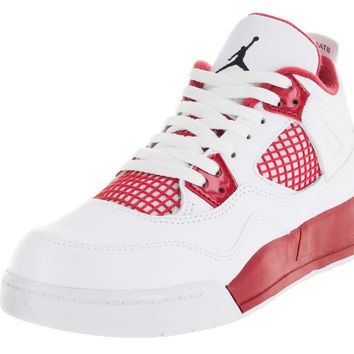 NIKE Baby Boys Jordan 4 Retro BP Alternate White/Black-Gym Red Leather