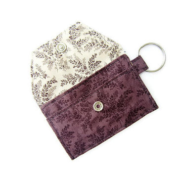 Mini key chain wallet/ simple ID Key chain pouch / Business card holder/ keychain coin purse / purple leaf pattern