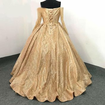 Boat Collar Off Shoulder Evening Dress Back Lace Up Prom Dress Custom Gold Sequined Party Dress