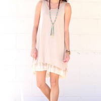 Lace Trim Tank Dress {Tan}