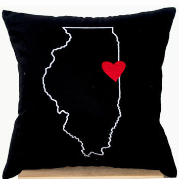 Black Pillows- State Pillow- Embroidered pillow- Personalized Pillow- Customized Cushion- Gift- 18x18- Black Cotton Cushion- Illinois Pillow