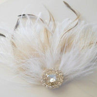 Ivory White Bridal Head Piece Champagne Peacock Feather Fascinator Vintage Wedding Hair Piece Rhinestone, Prom Hair Accessory