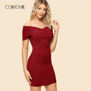COLROVIE Burgundy Sexy Off The Shoulder Criss Cross Wrap Elegant Bodycon Dress 2018 Autumn Black Party Dress Mini Women Dresses