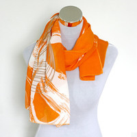 Orange Chiffon  Bohemian Scarf with large White and Grey Circles -  Infinity Scarf, chiffon,  Gift Native Scarf Chevron  Scarves Loop Scarf