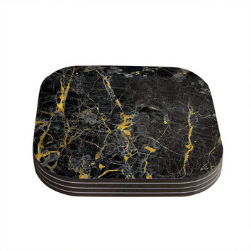 "KESS Original ""Gold Fleck Black Marble"" Digital Abstract Coasters (Set of 4)"
