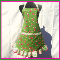 Retro Kitchen Apron, Breast Cancer Awareness Pink Ribbons on Green with White Ruffle