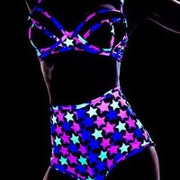 Blacklight Reactive Shining Star Glow Two Piece