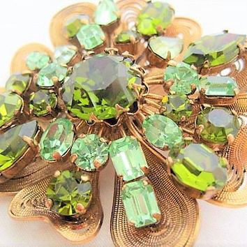 Peridot Green Rhinestone Brooch, Variety of Rhinestone Shapes, Signed Austria, Modernist Appeal