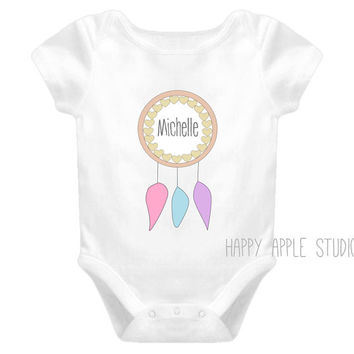 Personalized dreamcatcher Onesuit, dreamcatcher onsie, personalized name Onesuit, dreamcatcher shirt toddler, personalized baby girl gift