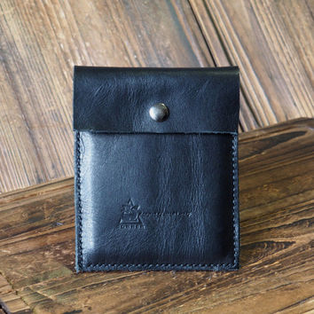 Leather Pouch - Minimalist Wallet handmade, Card holder, card wallet, leather case, sleeve, personalized (vegetable tanned leather) #Black