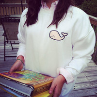 Preppy Sweatshirt With Appliqued Whale