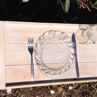 Rustic wooden serving tray with handles, rustic wedding, wedding gift,shabby chic white washed