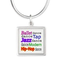 Dance Styles (#1) Silver Square Necklace