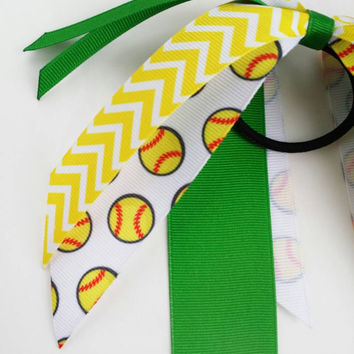 Green and yellow custom softball streamers, softball team hair bow ponytail ribbon, softball ribbon, hair streamers, fastpitch softball bow