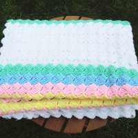 """Crochet baby blanket afghan throw with white green pink blue yellow stripes 56"""" x 32"""""""