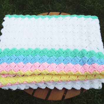 "Crochet baby blanket afghan throw with white green pink blue yellow stripes 56"" x 32"""