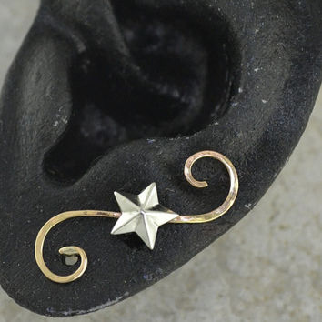 Ear Pin - Star on Swirling Wire - Gold Filled and Sterling Silver - PAIR