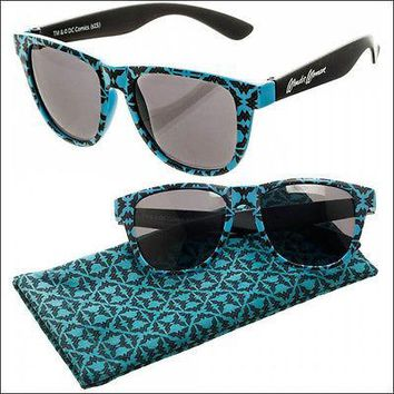 DC Wonder Woman Patterned Blue Black Sunglasses w/ Fabric Case Pouch LICENSED