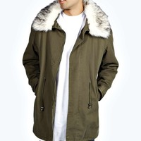 Fishtail Cotton Canvas Parka with Faux Fur Trim
